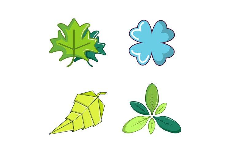 Leaf icon set, cartoon style example image 1