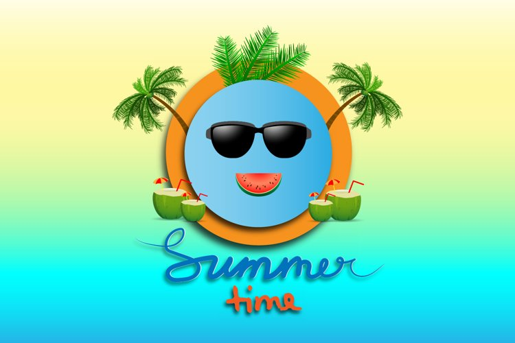 Summer time illustration in paper art style