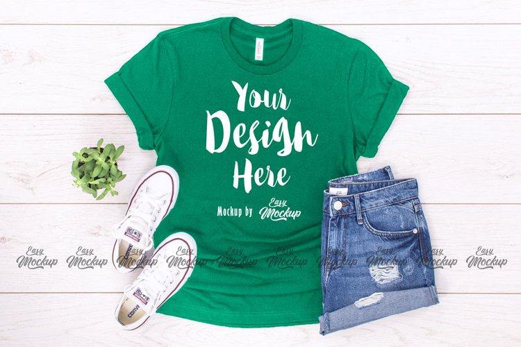 Kelly Green Bella Canvas 3001 T Shirt Mockup example image 1