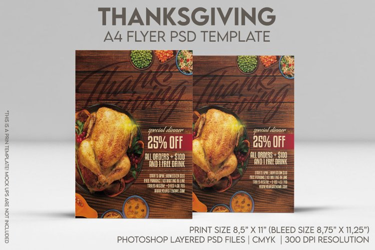 Thanksgiving A4 Flyer & BONUS! example image 1