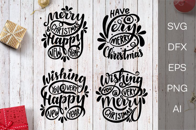 Christmas SVG. New Year SVG. Christmas lettering phrases. example image 1