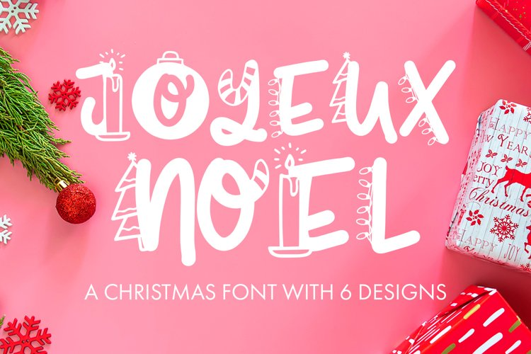 Joyeux Noel Font - Christmas Doodle Font In 6 Designs example image 1