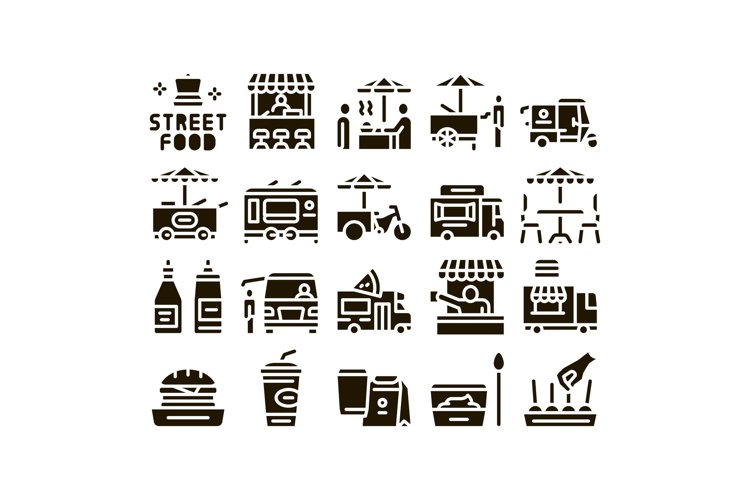 Street Food And Drink Glyph Set Vector example image 1