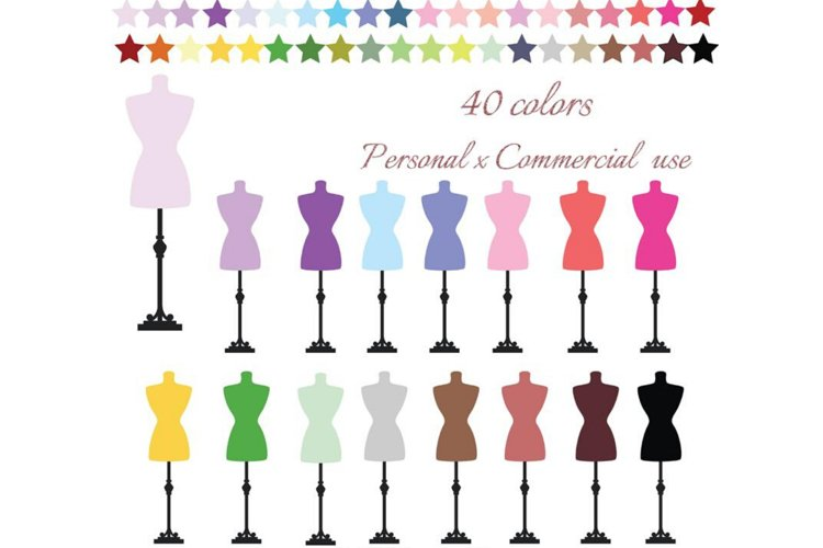 Dress Form Clipart, Dress Form Clip art, Sewing Clip Art example image 1