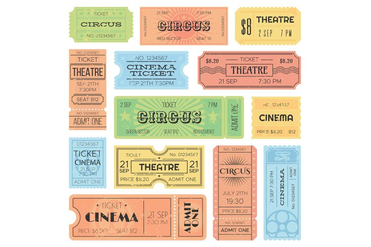 Theater or cinema admit one tickets, circus coupons and vint example image 1