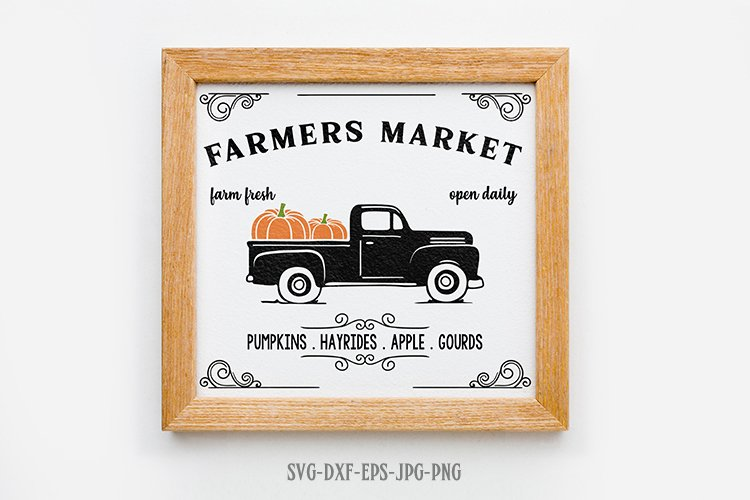 farmers market pumpkin patch svg, fall svg, Fall Truck svg example image 1