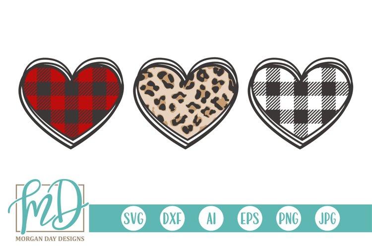 Leopard - Plaid - Valentine Heart Trio - Valentines Day SVG