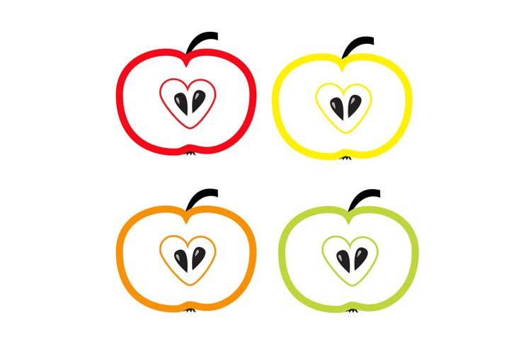 Set of color apples with heart shape. Valentines Day icon example image 1