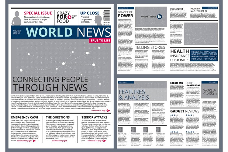 Different articles in newspaper. Vector design template with example image 1