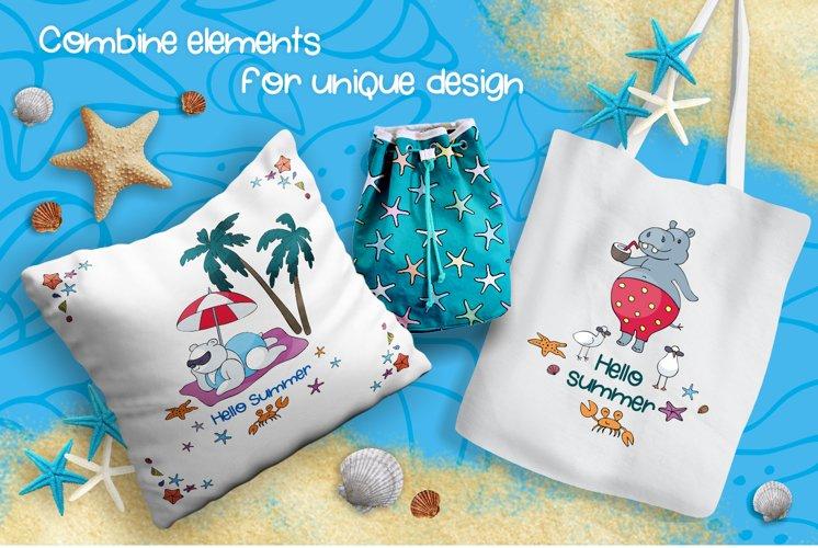 Sun and Fun Summer Beach Doodles Clipart Set example 5
