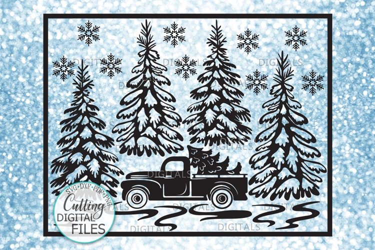 Christmas Truck with Trees Winter scene sign svg pdf design