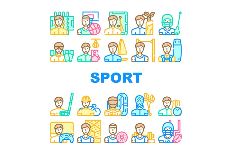 Male Sport Activities Collection Icons Set Vector example image 1