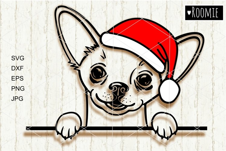 Chihuahua in red Santa hat svg file, Dog face svg New year example image 1