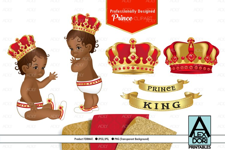 Red Gold Baby Boy Prince PNG, Clipart set, background example image 1