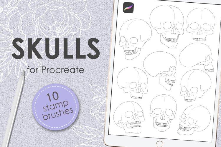 Skulls procreate stamp brushes example image 1