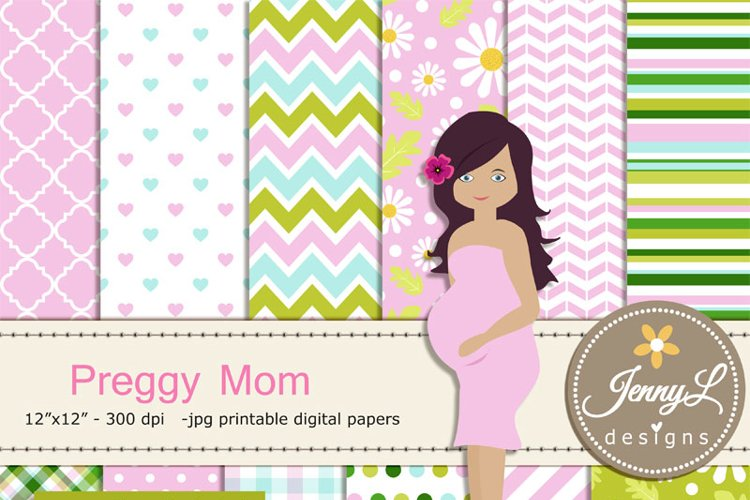 Pregnant Digital papers and Clipart SET, Mom-to-be, Baby Shower, Pregnancy Announcement, Gender Reveal Digital scrapbooking example image 1