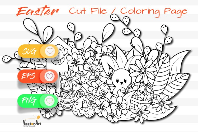Easter Fun - Cut File and Coloring Page example image 1