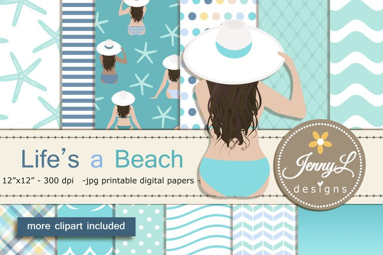 Beach Summer Digital Papers and Clipart example image 1