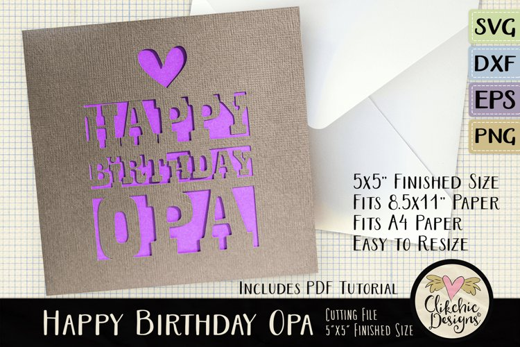 Happy Birthday Opa Card SVG - Birthday Card Cutting File example image 1