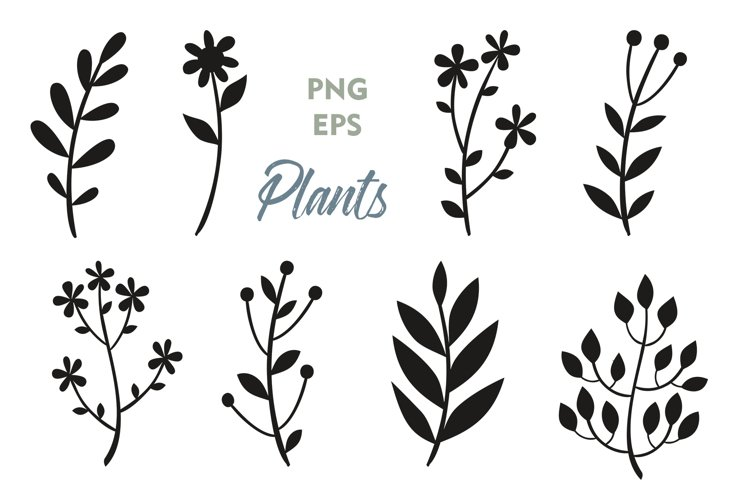 Plant silhouettes Clipart. Flowers flower silhouettes PNG