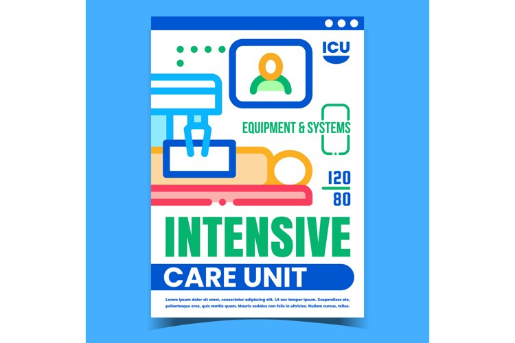 Intensive Care Unit Creative Promo Banner Vector