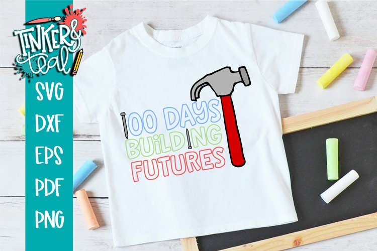 100 Days of School Building Futures SVG example image 1
