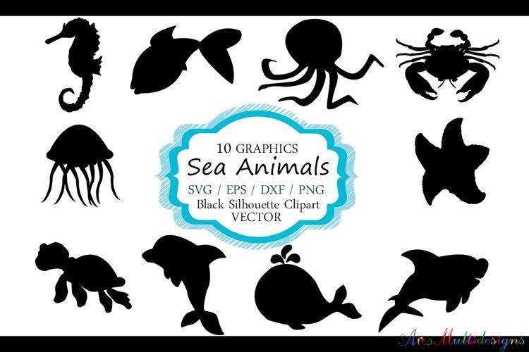 Sea animals silhouette / vector sea animal / sea animal SVG file / EPS vector / sea animals clipart example image 1