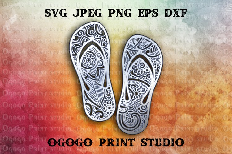3D Layered Flip flops Mandala Svg, Zentangle SVG, Sea Svg example image 1
