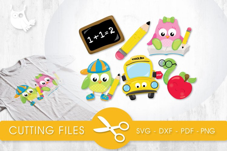 Cutesy School Owls cutting files svg, dxf, pdf, eps included - cut files for cricut and silhouette - Cutting Files SVG example image 1