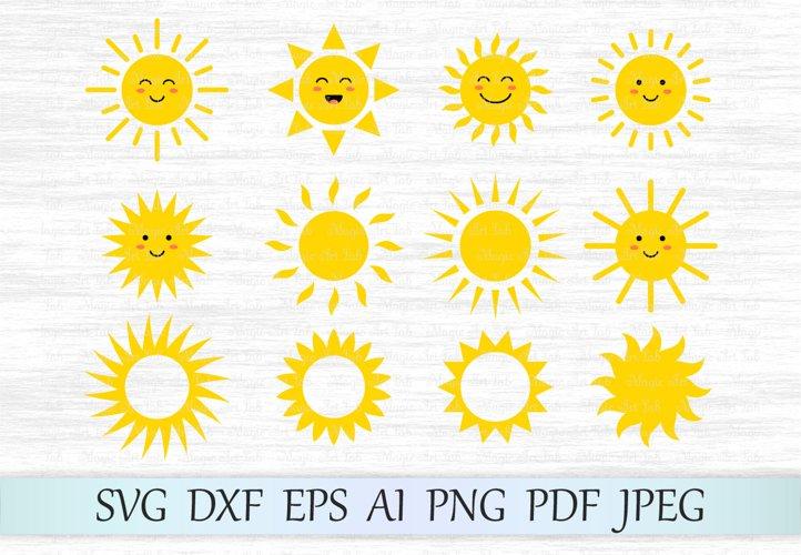 Sun svg, Sun clipart, Cute sun svg file, Sun face svg