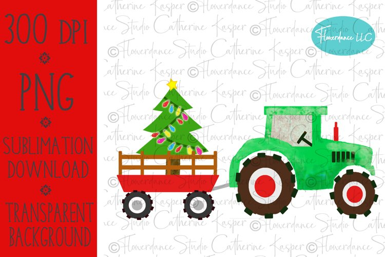 Watercolor Christmas PNG - Tractor, Farm Wagon, Tree example image 1