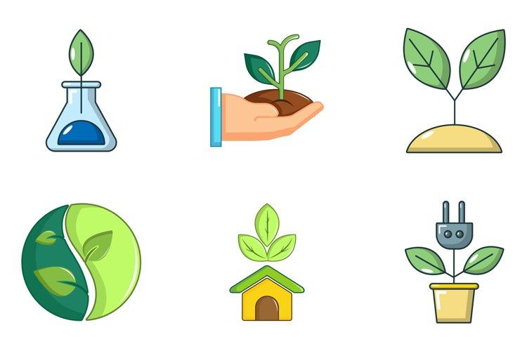Plant icon set, cartoon style example image 1