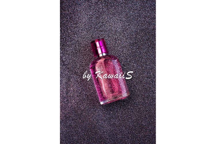 Pink perfume glass bottle mockup beauty cosmetics template example image 1