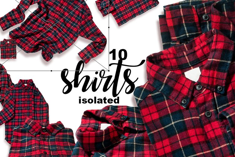 Christmas check red shirts isolated on white Element Object example image 1
