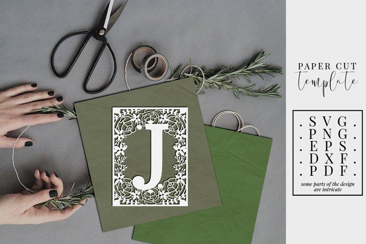 Floral frame letter J, single initial paper cut, wedding SVG example image 1