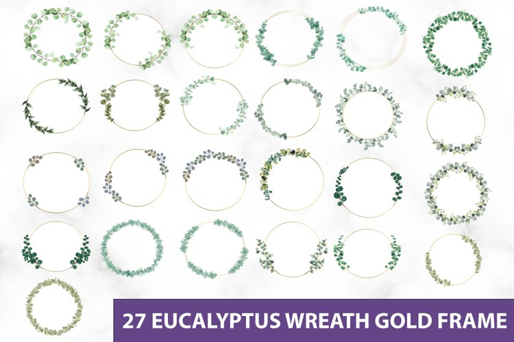 Eucalyptus Wreath Gold Frame Clipart PNG SVG, Greenery