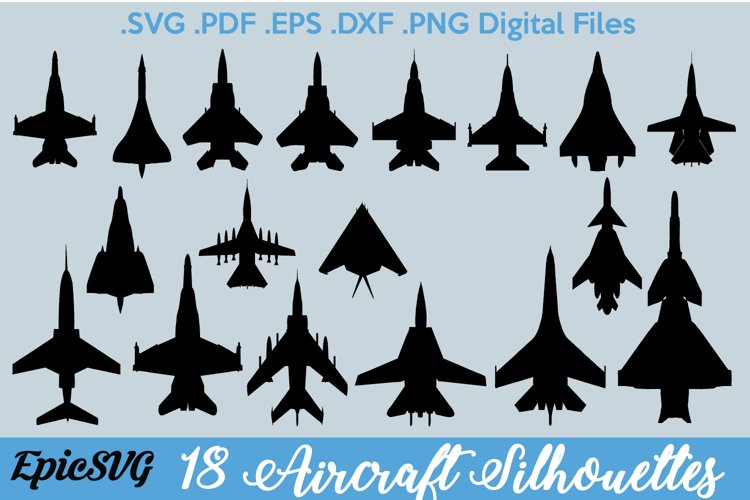 18 Aircraft Silhouettes Top-Down | Digital Files for Cutting
