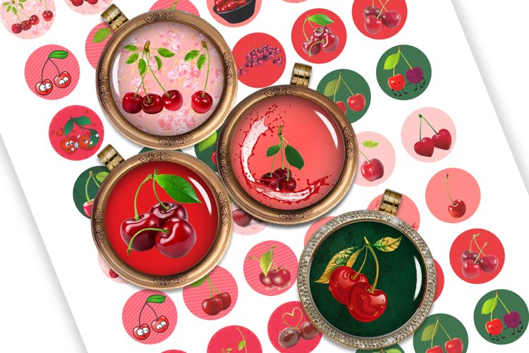 Cherries Digital Collage Sheet Printable images for Cabochon example image 1