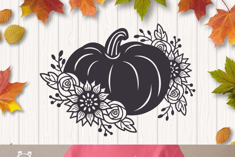 Floral Pumpkin svg, Halloween Floral Decor, Fall svg example 4