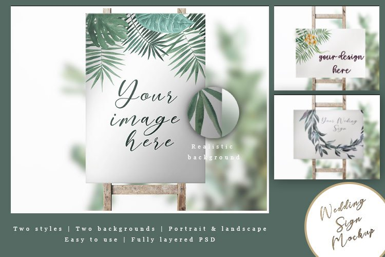 Wedding sign, Seating Plan, Welcome sign mockup PSD