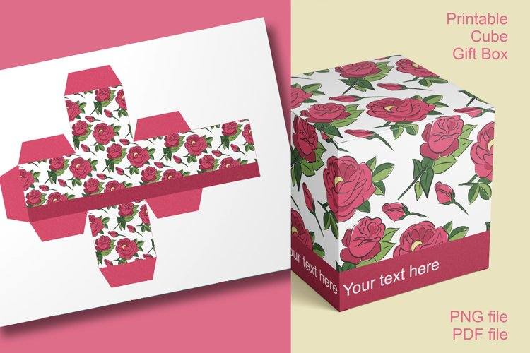 Printable Red Roses Cube Boxes for Small Favors Set of 4 example image 1