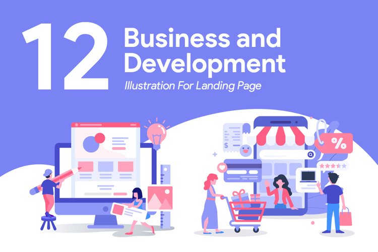 12 Business and Development Illustration for Landing Page example image 1