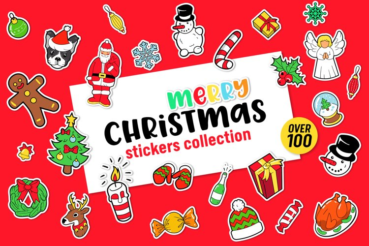 Merry Christmas Stickers Bundle. Over 100 clipart and BONUS! example image 1