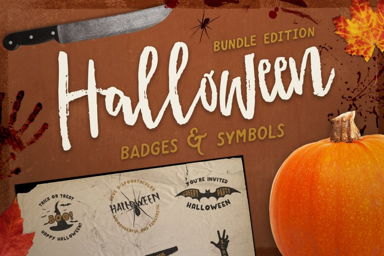 Halloween Badges / Retro Logo Set. Bundle Edition example image 1