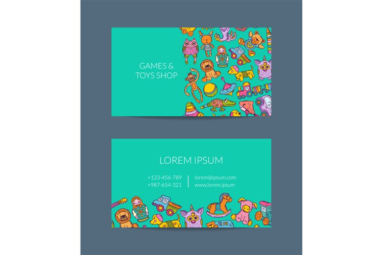 Vector business card template for shop, kindergarten with ha example image 1
