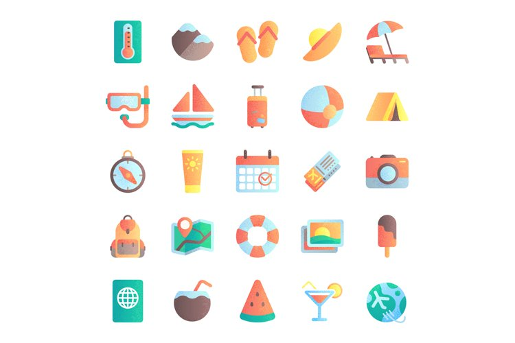 Flat summer icons. Vacation tour, beach umbrella in sand. Se example image 1