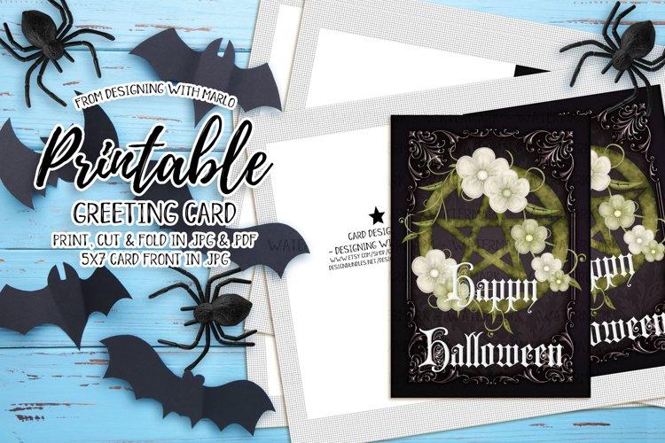Green Pentagram - Printable Happy Halloween Card example image 1