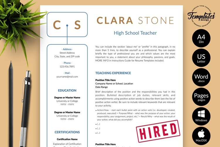 Teacher Resume CV Template for Word & Pages Clara Stone example image 1