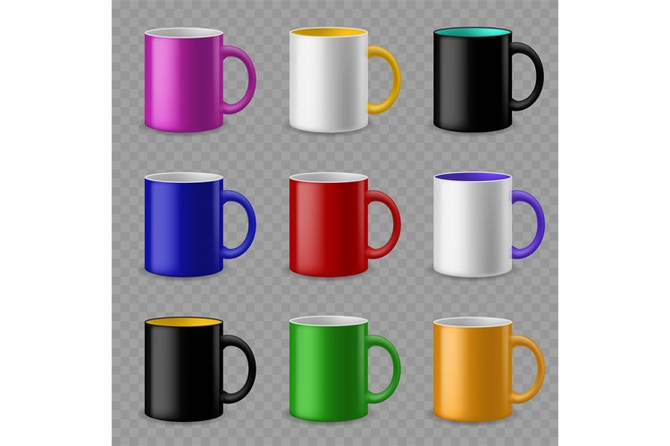 Color cups. Ceramic colorful cup template for different drin example image 1