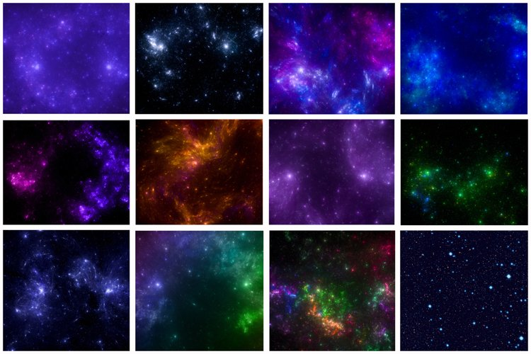 12 images - Galaxy background . Colorful starry outer space. example image 1